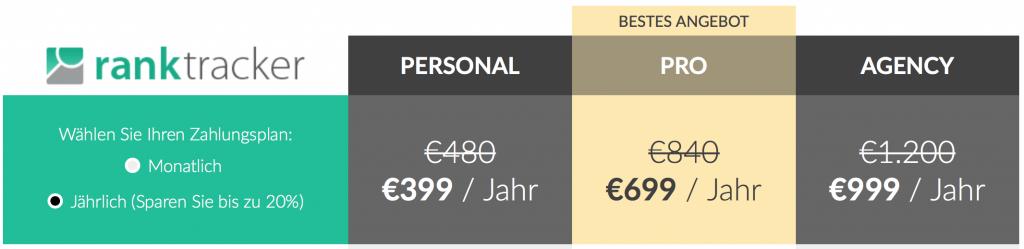 RankTracker Preise