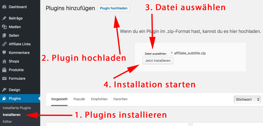 Wordpress Untertitel Plugin installieren